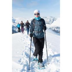 女款超保暖雪地健行彈性長褲SH500-黑色。
