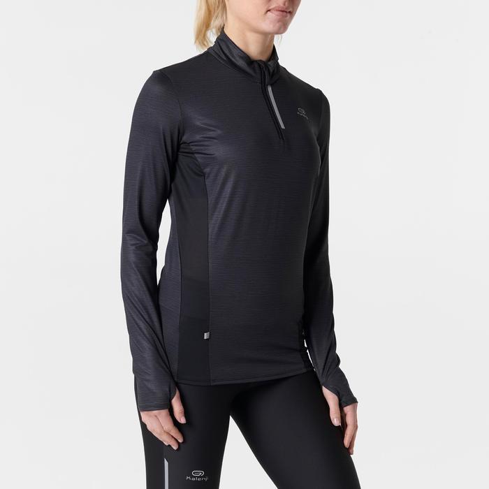 Laufshirt langarm Run Dry+ Reißverschluss Damen schwarz