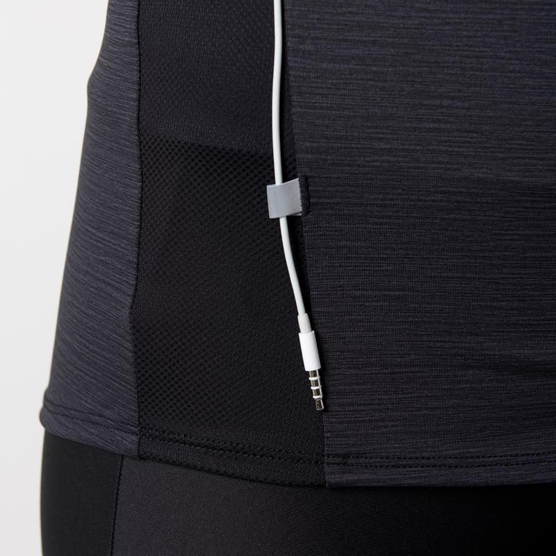 เสื้อยืดแขนยาวผู้หญิงแบบมีซิปสำหรับใส่วิ่งรุ่น Run Dry + (สีดำ)