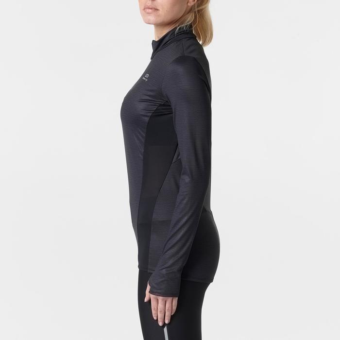 Loopshirt Run Dry+ met lange mouwen en rits voor dames zwart