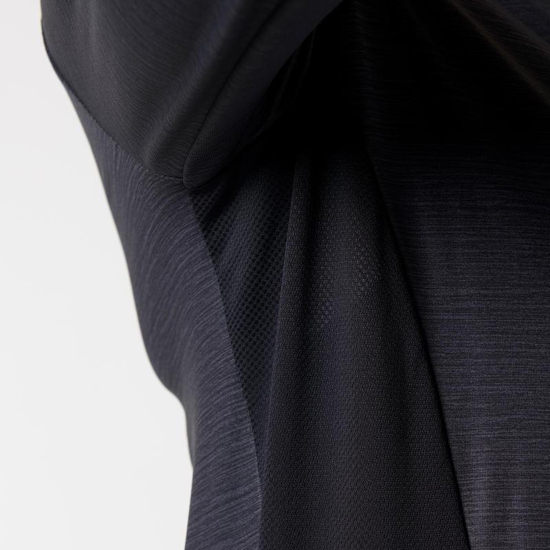 RUN DRY+ ZIP WOMEN'S LONG-SLEEVED T-SHIRT - BLACK