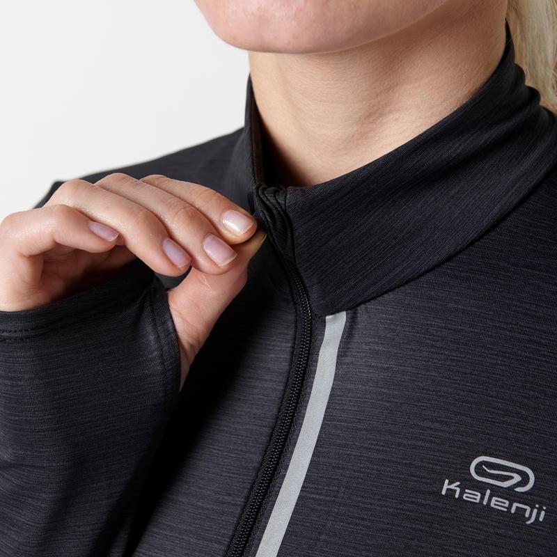 Run Dry + Zip Women's Long-Sleeved Shirt - Black