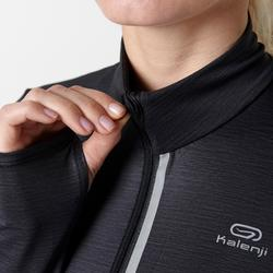 RUN DRY+ ZIP WOMEN'S LONG-SLEEVED T-SHIRT - BLACK