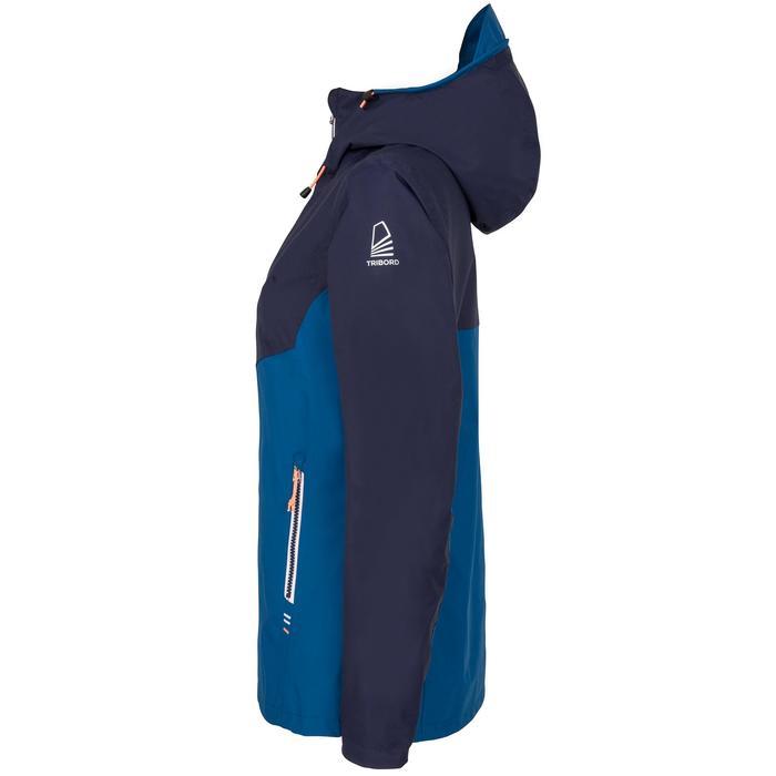 Chaqueta Cortaviento Impermeable Barco Vela Tribord 100 Mujer Azul Capucha