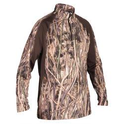 Camiseta de caza manga larga 500 camuflaje marismas