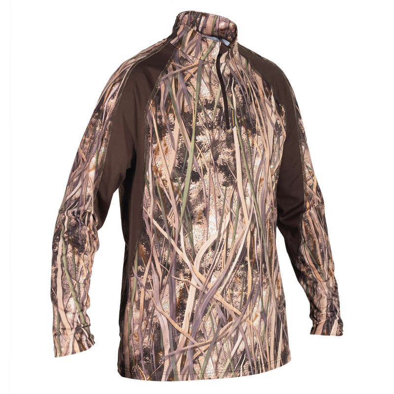 CAMOUFLAGE REEDS CLOTHING Shooting and Hunting - 500 LS T-shirt wetlands camo SOLOGNAC - Hunting Types