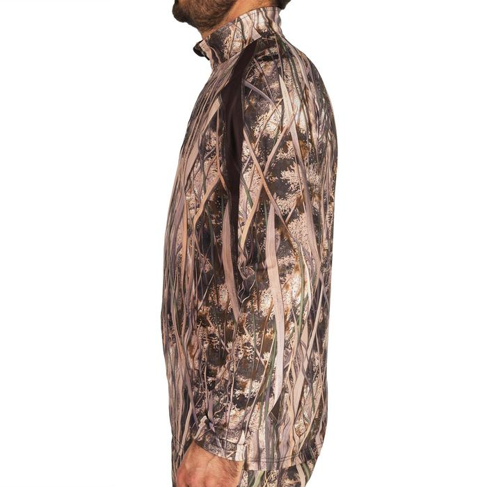 T-shirt chasse manches longues 500 camouflage marais