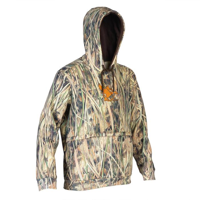 Sweat chasse capuche 500 camouflage marais