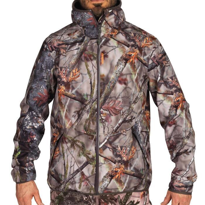 Hunting Silent Waterproof Jacket 500 - Woodland Camouflage