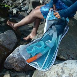 Tas voor zwemvliezen duikbril snorkel vrijduiken 100 L grijs