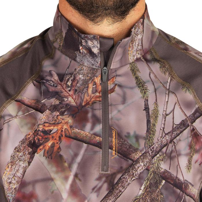 T-SHIRT CHASSE MANCHES LONGUES SILENCIEUX RESPIRANT 500 CAMOUFLAGE FORET