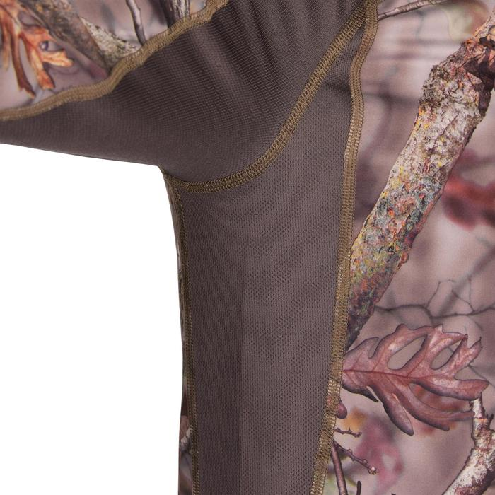 透氣長袖靜音狩獵T恤ACTIKAM 500-棕色迷彩