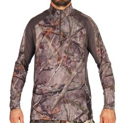 Hunting Silent Breathable Long Sleeve T-shirt 500 - Forest Camo