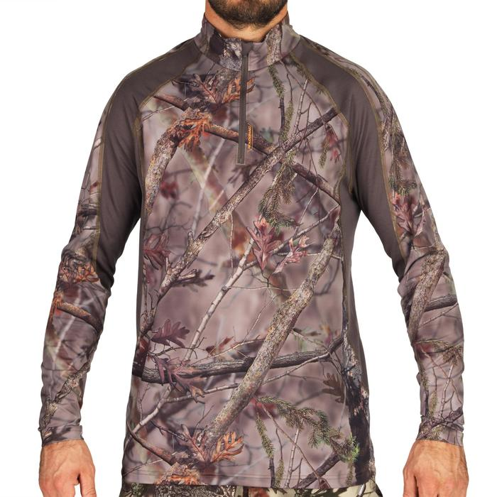 T-SHIRT CHASSE MANCHES LONGUES SILENCIEUX RESPIRANT 500 CAMO FORET