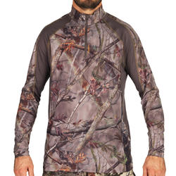 T-SHIRT CHASSE MANCHES LONGUES RESPIRANT ACTIKAM 500 CAMOUFLAGE BRUN CLAIR