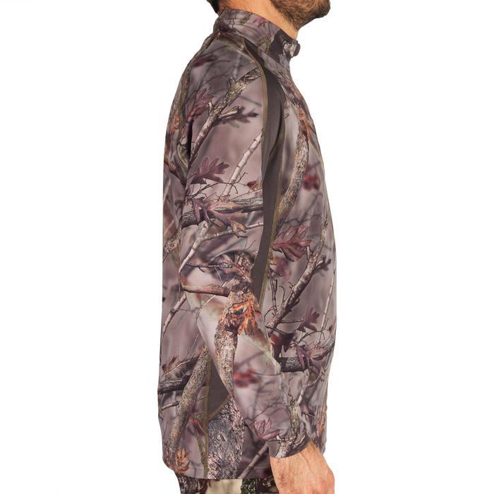 Jagd-Langarmshirt Actikam 500 light geräuscharm atmungsaktiv camouflage/braun