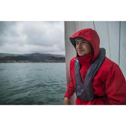 Chaqueta Cortaviento Impermeable Barco Vela Tribord 100 Hombre Rojo Capucha