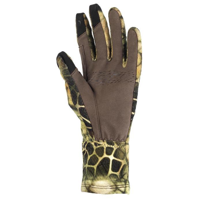 Jagdhandschuhe 900 warm atmungsaktiv Merinowolle camouflage Furtiv