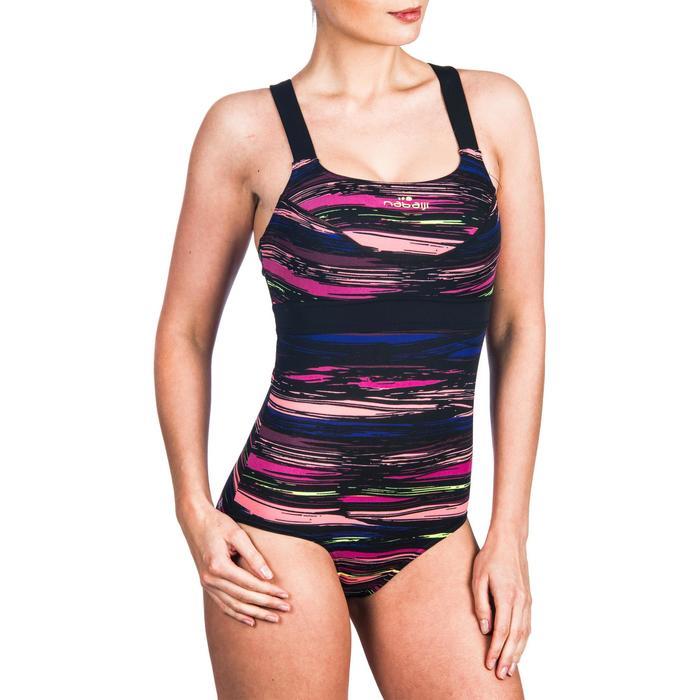 Bañador una pieza para mujer de aquabike resistente al cloro Anna stri rosa