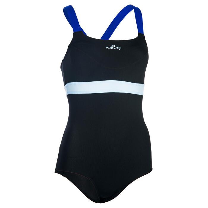 Bañador una pieza para mujer de aquabike resistente al cloro Anna negro azul