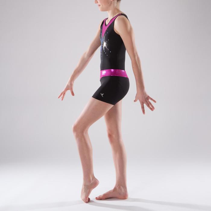 Shorty Gymnastique Féminine (GAF et GR) paillettes noir/rose.