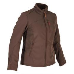 Warme waterafstotende softshell fleece vest voor de jacht dames 500 bruin