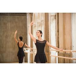 Justaucorps de danse classique manches courtes bi-matière femme noir