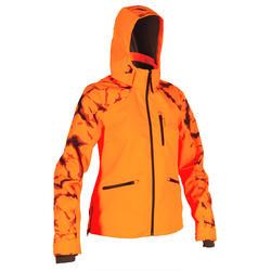 Waterdichte jas voor drijfjacht en jacht dames Supertrack 100 fluo