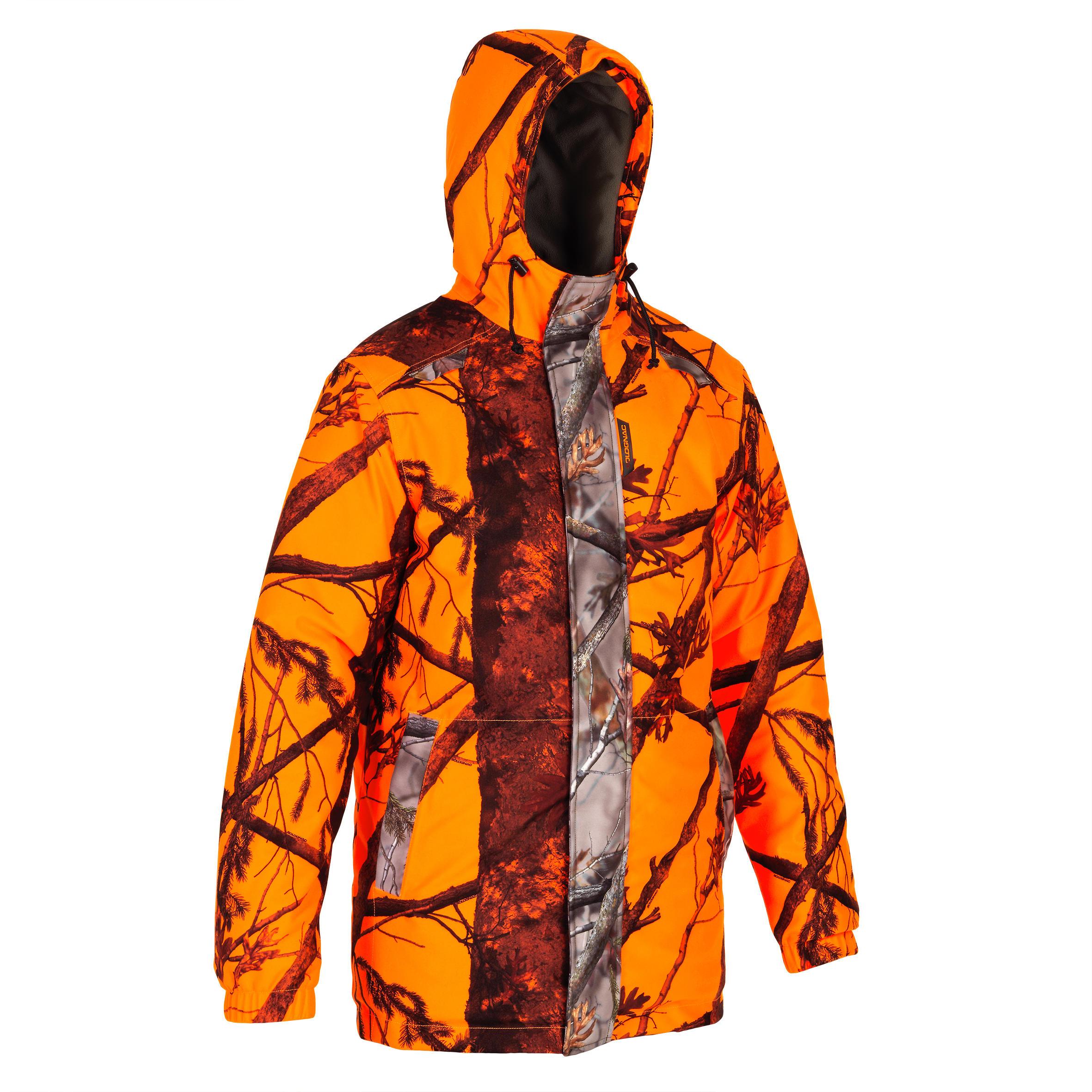 Regenjacke warm 100 camouflage orange | Sportbekleidung > Sportjacken > Regenjacken | Solognac