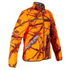 Veste camo fluo d'un coté et camo forêt de l'autre, chaude et silencieuse.
