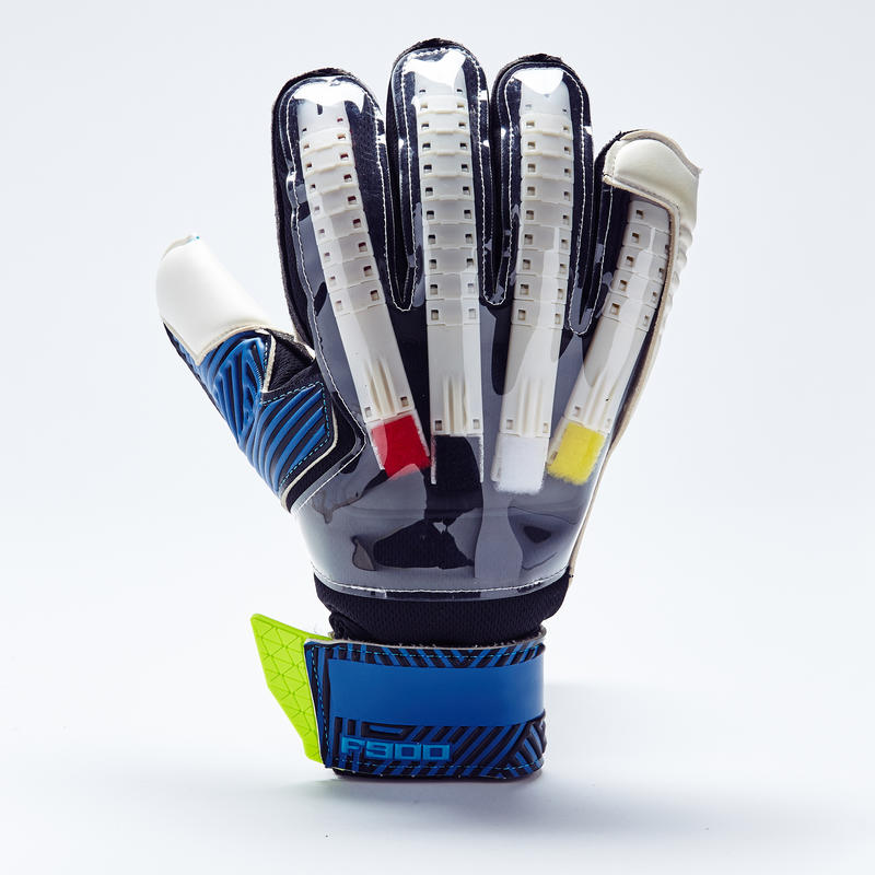 F900 Finger Protect Adult Goalkeeper Gloves - Blue/Yellow