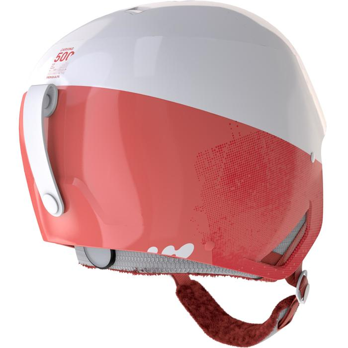 Skihelm voor pisteskiën volwassenen HRC 500 koraalrood/wit