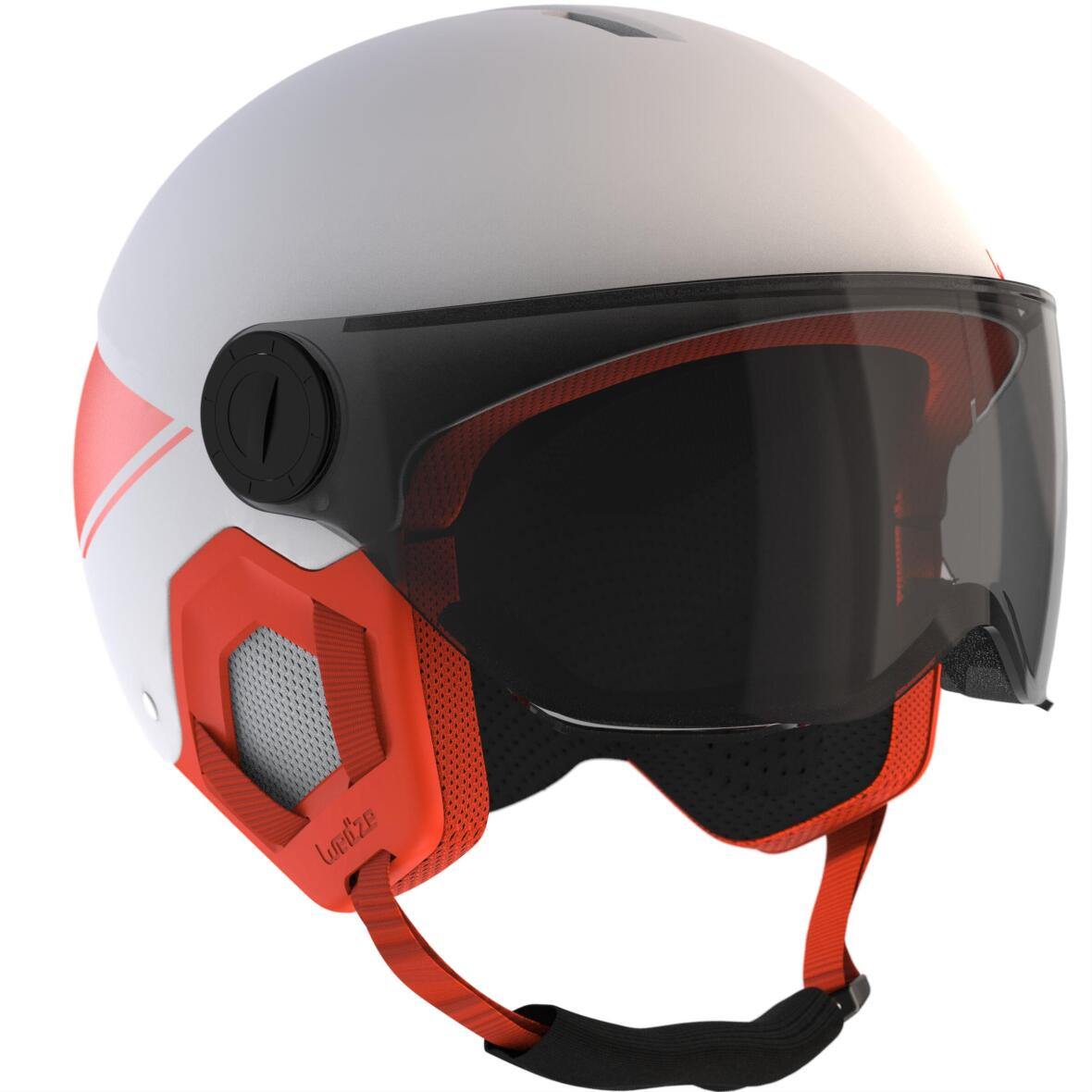 piste skiing goggles and helmet