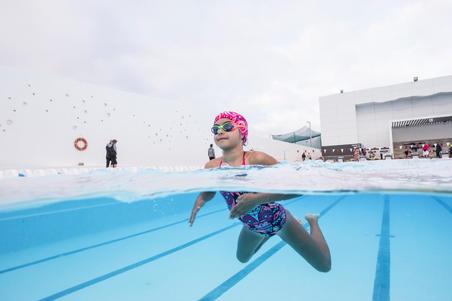 Lunettes de natation 100 XBASE Taille P DYE orange bleu