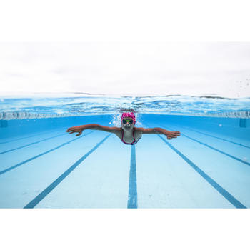 Gafas de natación 100 XBASE Talla S DYE Naranja Azul