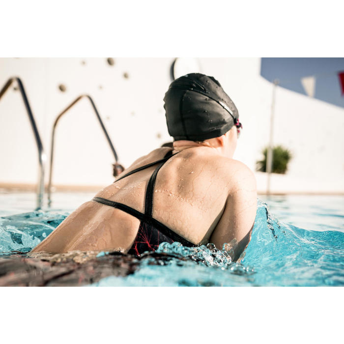Badeanzug Jade Stel chlorresistent Damen schwarz/orange