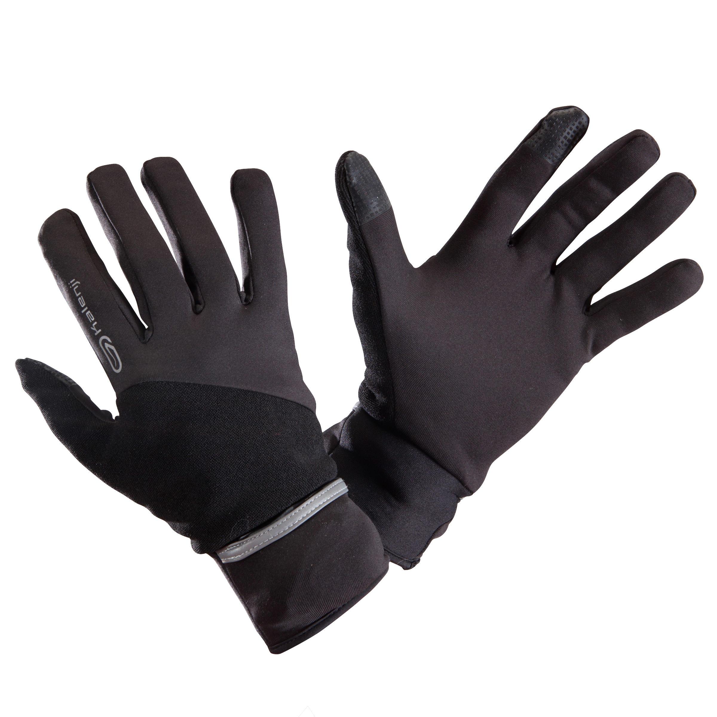 Laufhandschuhe Evolutiv Run By Night mit integrierten Fäustlingen schwarz | Accessoires > Handschuhe > Fäustlinge | Schwarz | Kalenji