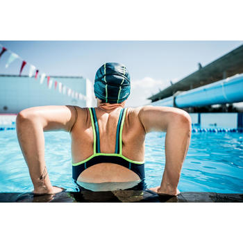 Bañador de natación una pieza mujer Kamiye+ azul verde