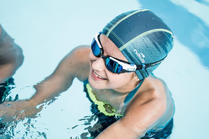 Lunettes de natation 500 SPIRIT Taille S noir bleu verres miroir