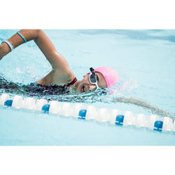 SWIMMING GOGGLES 500 SPIRIT SIZE S WHITE PINK CLEAR LENSES