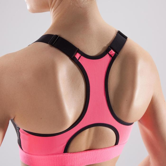 Brassière zip fitness cardio femme imprimés tropicaux roses 900 Domyos - 1494125