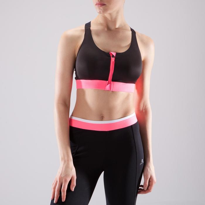 Brassière zip fitness cardio femme imprimés tropicaux roses 900 Domyos - 1494131