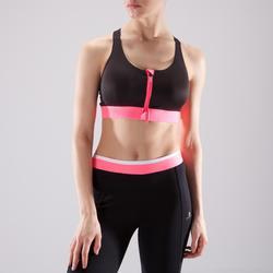 Sport bh fitness 900 met rits, zwart/roze