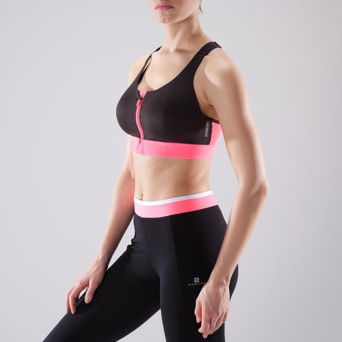 Sport-Bustier 900 Cardio Fitness Zip Damen schwarz/rosa