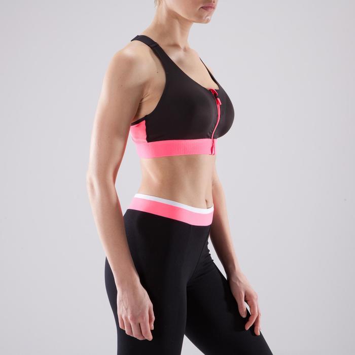 Brassière zip fitness cardio femme imprimés tropicaux roses 900 Domyos - 1494146