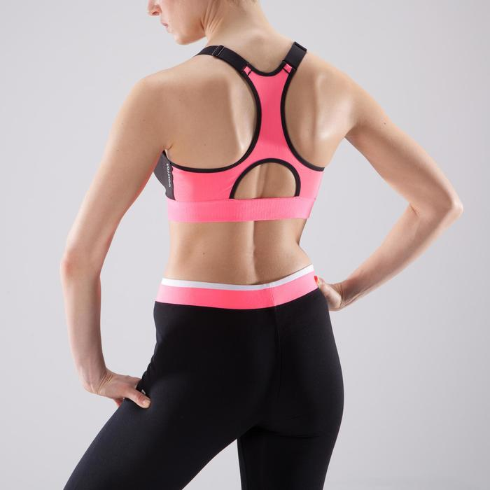 Brassière Zip fitness cardio-training femme noire et rose 900