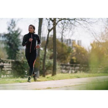 RUN WARM WOMEN'S JOGGING JACKET HOOD BLACK CORAL