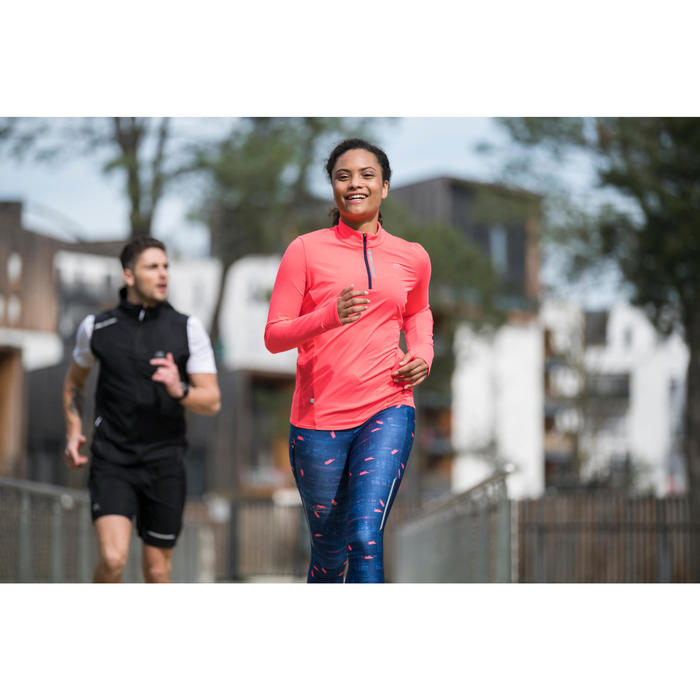 RUN DRY+ ZIP WOMEN'S LONG-SLEEVED RUNNING JERSEY CORAL