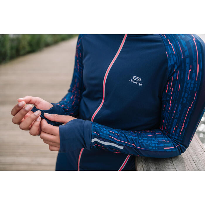 Dameshoodie voor jogging Run Warm marineblauw