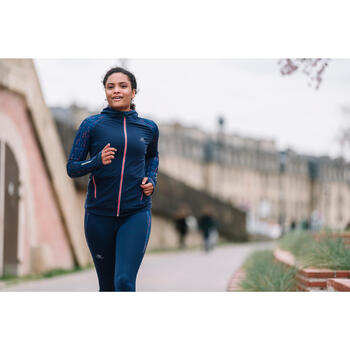 RUN WARM HOOD WOMEN'S RUNNING LONG-SLEEVED JACKET NAVY BLUE